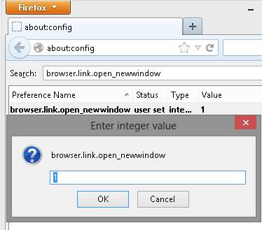 Firefox 19 Open link in Current Tab Setting