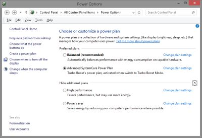 Windows 8 Control Panel Power Plan